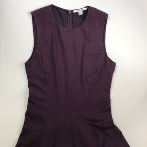 DVF dark purple sleeveless skater seams dress 14